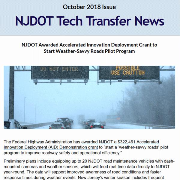 October 2018 NJ Tech Transfer News