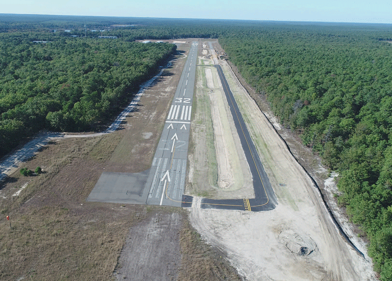 Runway 32 Taxiway construction at Eagles Nest Airport, West Creek, NJ. Photographed by Glenn Stott via drone