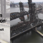 A UAS flown during the TRB visit to New Jersey DOT captured an aerial image of the Wittpenn Bridge.