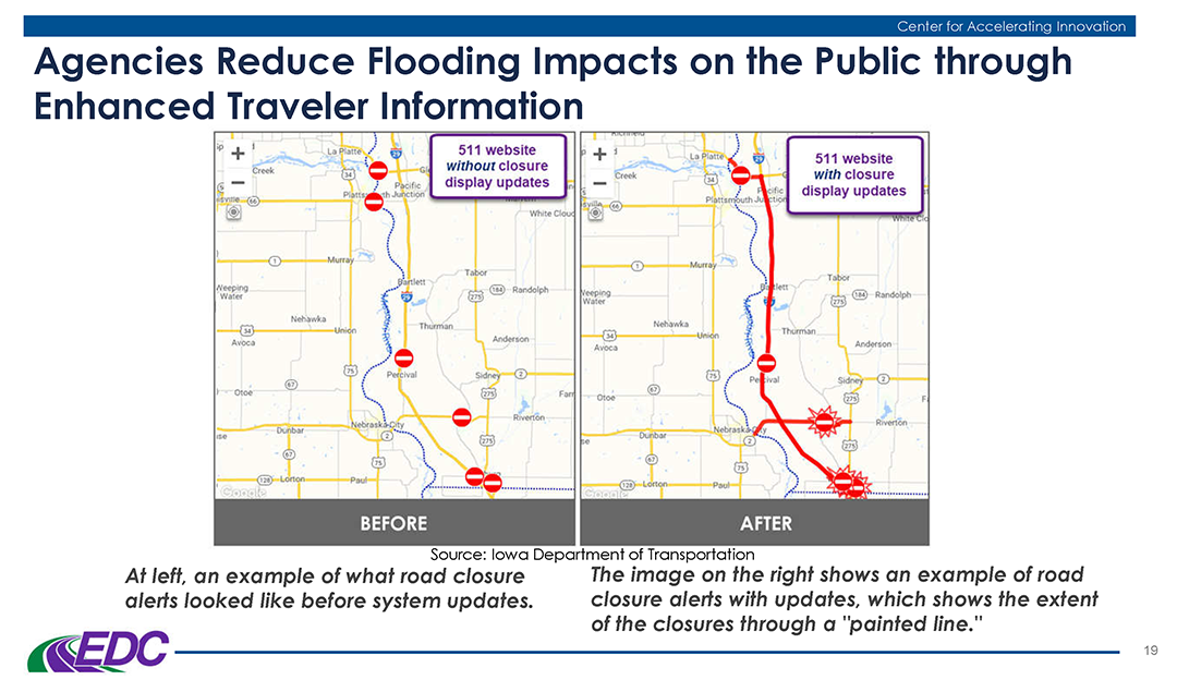 Mr. Murphy provided examples of weather responsive practices being tried by state DOTs, including an advanced traveler information notification deployed by Iowa DOT.