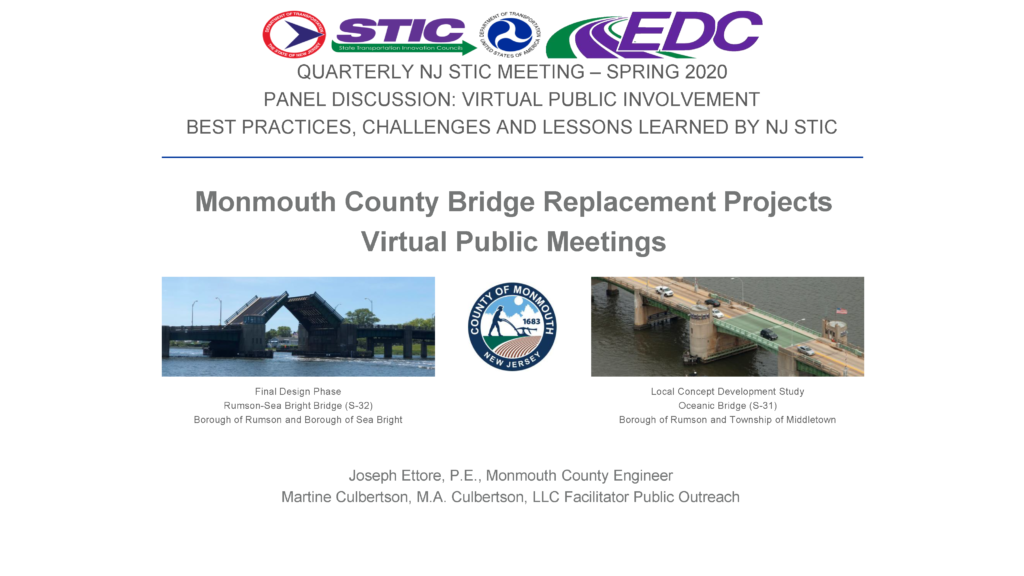 Monmouth County Bridge Replacement Project Virtual Public Meeting