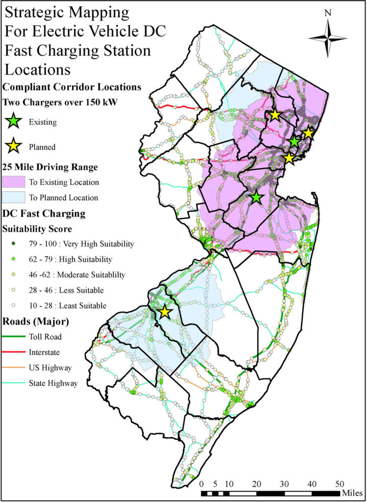 Strategic Mapping For Electric Vehicle DC Fast Charging Station Locations. Photo Source: NJDEP, 2020.