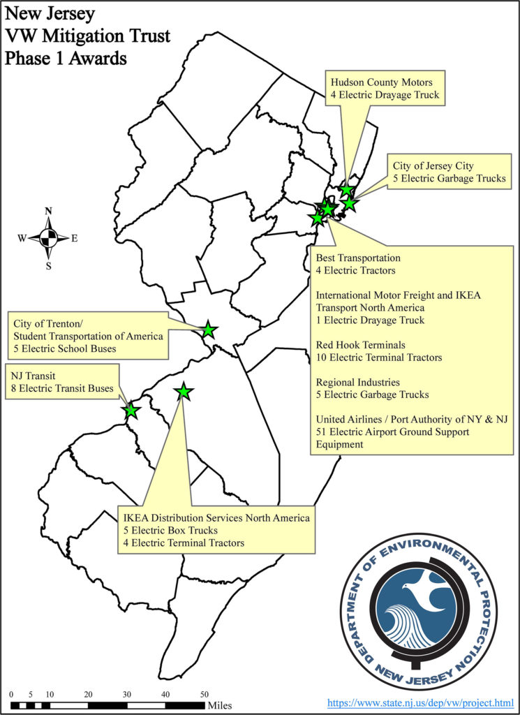 NJ VW Mitigation Trust Phase 1 Awards Map. Photo Source: NJDEP, 2020.