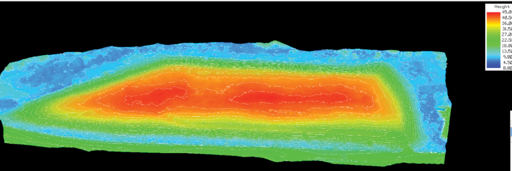Figure 2. Route 29 & Duck Island Landfill. Shown here is a contoured elevation heatmap. The model that was created is 3D by default, so creating this view is extremely easy to do. The model shows little erosion along the top and steep sides. Inasmuch as the model is both precise and accurately geo-located, future surveyed models of this ecologically sensitive area can easily be compared to this model.