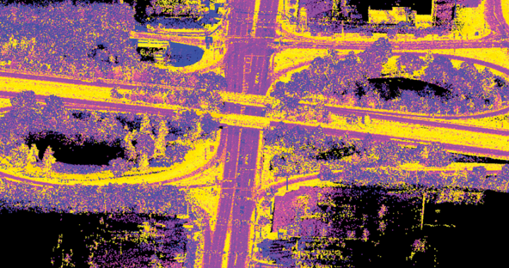 """Figure 3. Routes 55 & 47 were surveyed using a mobile unit which produces an enormous number of accurate and precise points (approximately ¼"""" inches apart for about 2 miles) for this bridge replacement project."""