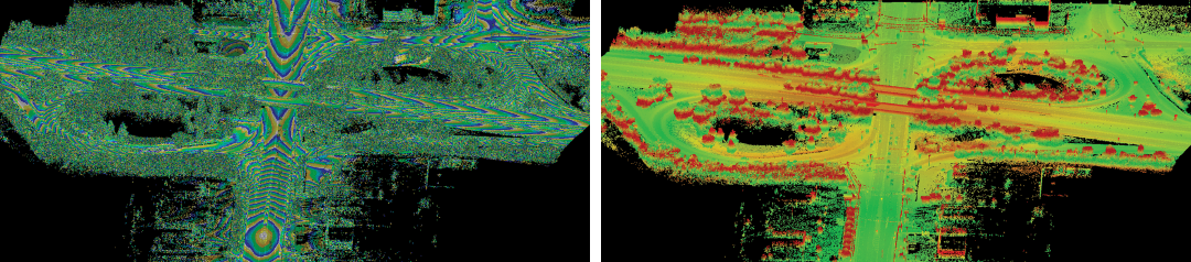 "Figure 4. Switching the ""view mode"" of a point cloud is just a click. These views show the point cloud in contour mode (0.1 contours) and deviation from a plane mode."