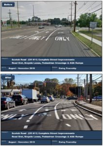 Restriping on Scotch Road resulted in addition of a bike lane between the through lane and the right turn lane
