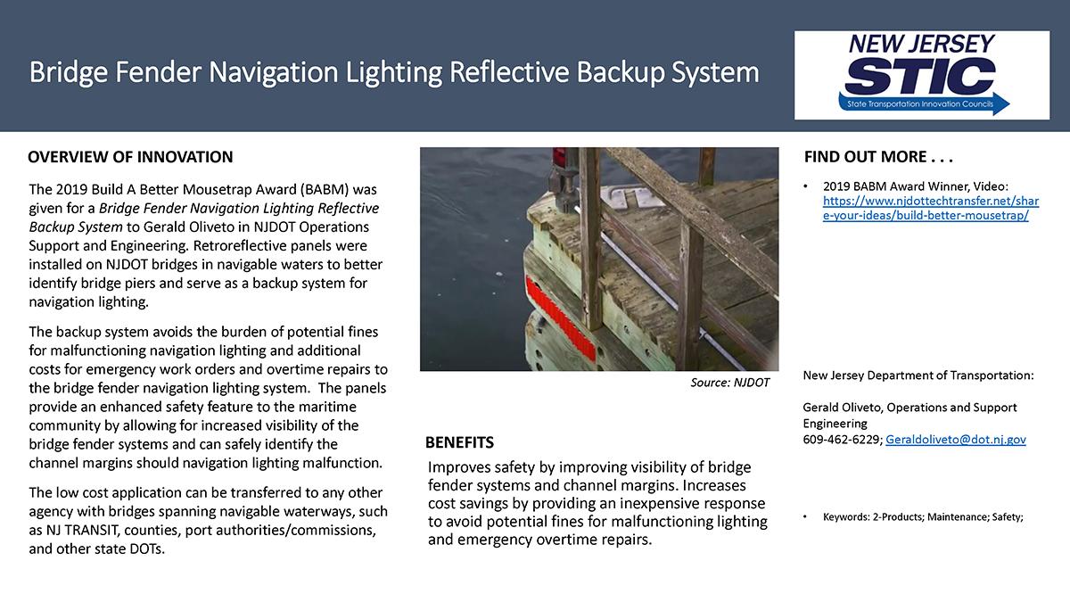 Bridge Fender Navigation Lighting Reflective Backup System