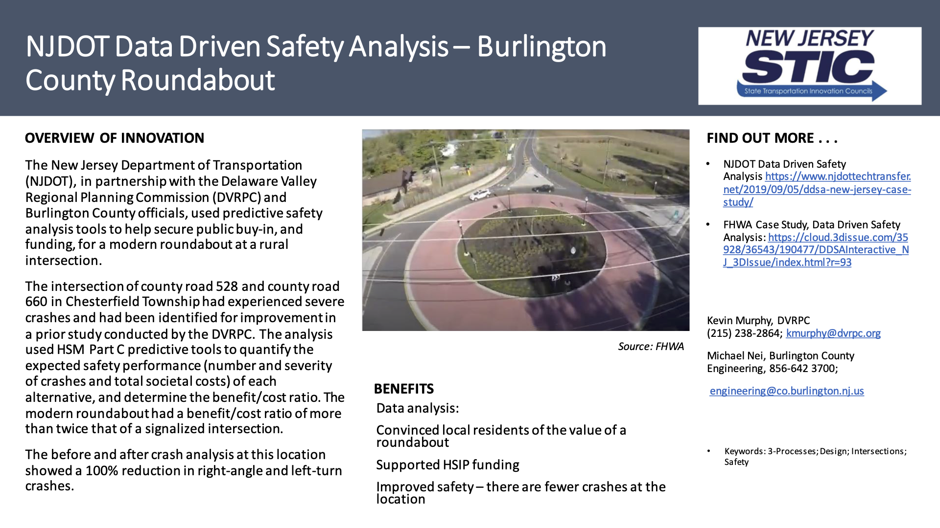 DDSA NJDOT Data Driven Safety Analysis – Burlington County Roundabout