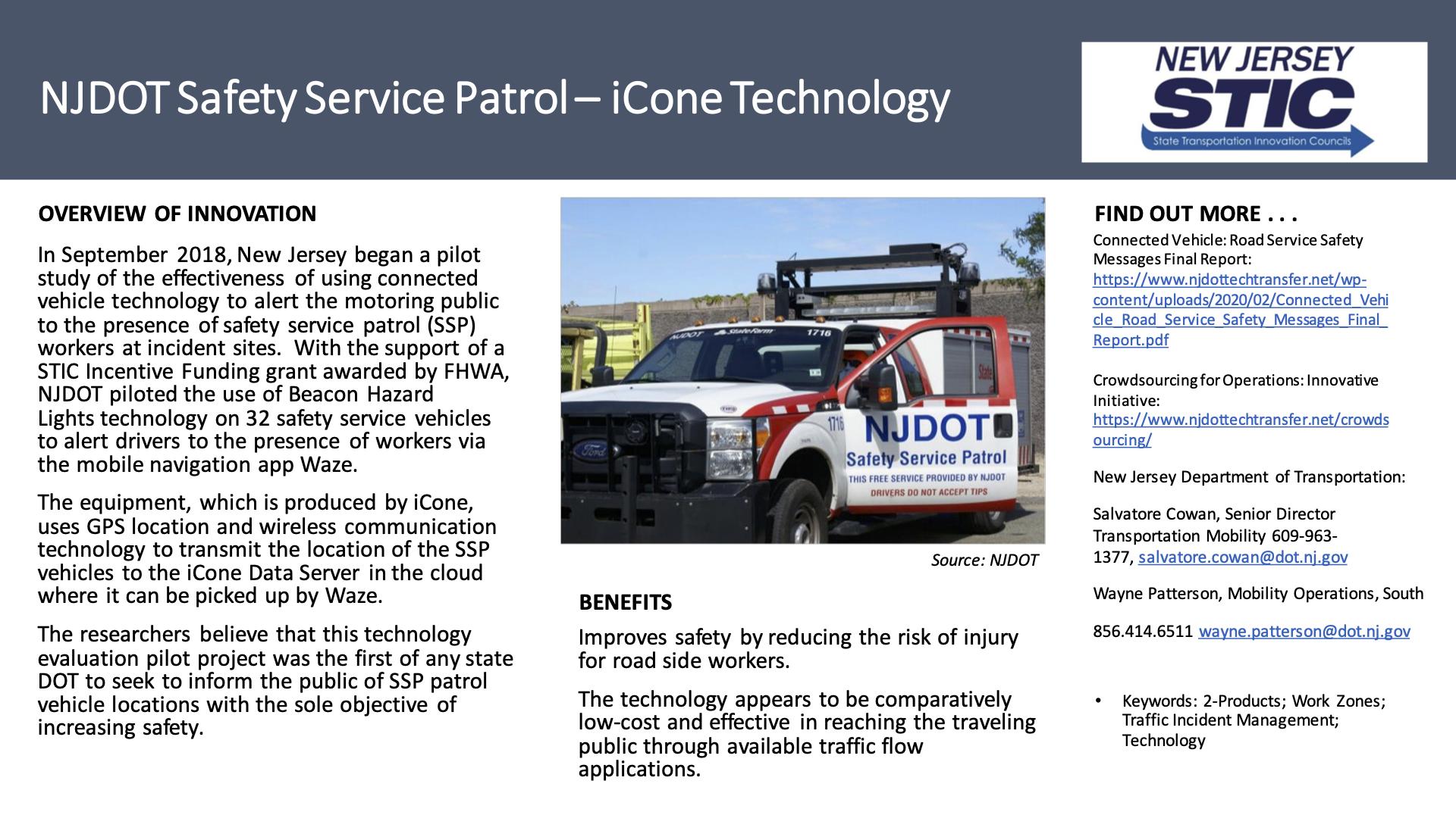NJDOT Safety Service Patrol – iCone Technology