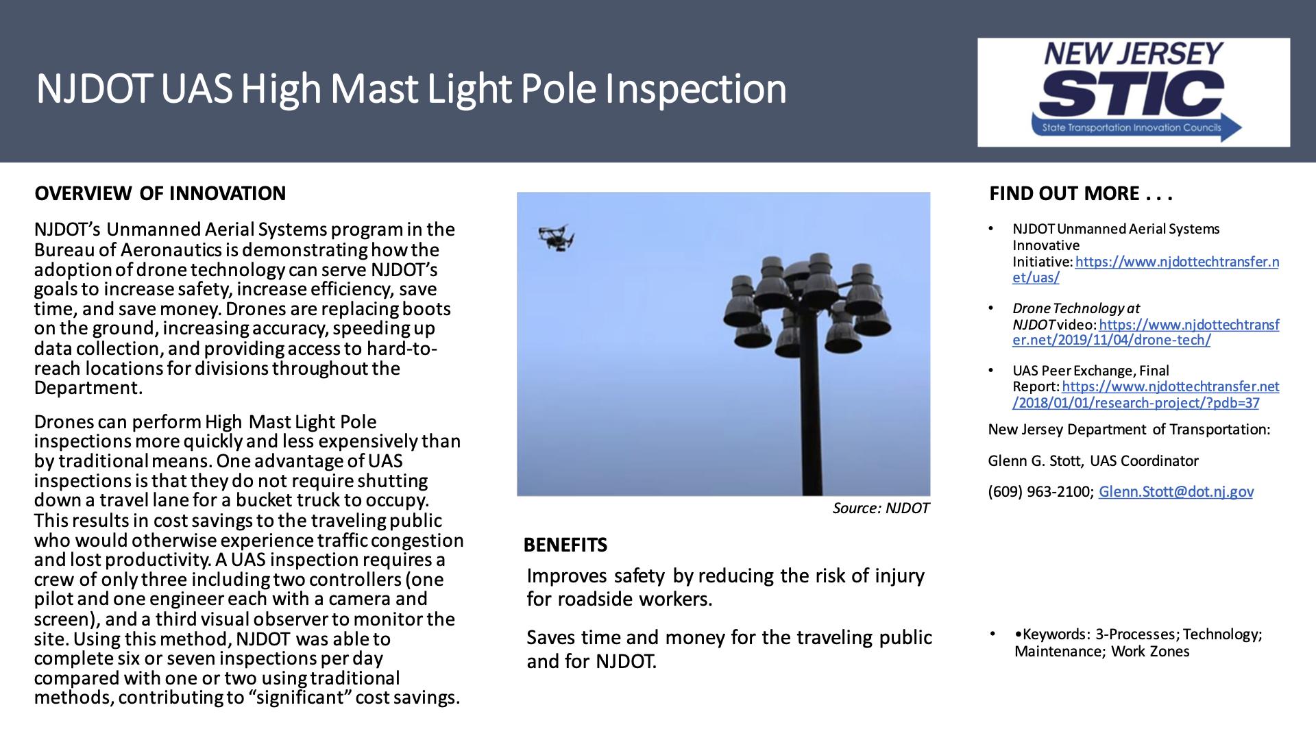 NJDOT UAS High Mast Light Pole Inspection