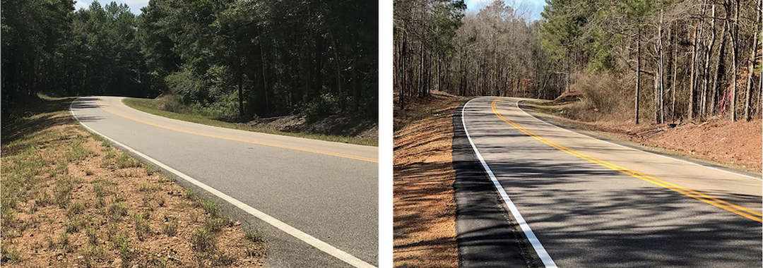 Image of a road, before and after safety treatment, in the second image there is an extra curb of asphalt added to the shoulder, to help keep cars more centered on the roadway