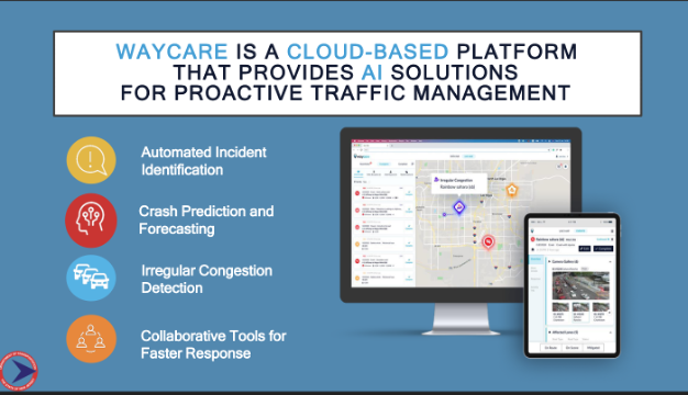 Slide image of a computer depicting a map with vehicles on it, text above it reads: Waycare is a cloud-based platform that provides AI solutions for proactive traffic management. To the left text reads: Automated Incident Detection, Crash Prediction and Forecasting, Irregular Congestion Detection, and Collaborative Tools for Faster Response