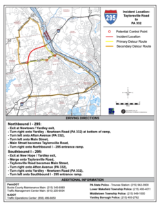 Image of two detour routes from I-295, one goes on a road to the north and then southeast to rejoin the highway, the other to the south and then northwest.