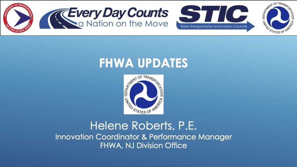 Slide image reading: FHWA Updates, Helene Roberts, P.E., Innovation Coordinator & Performance Manager, FHWA, NJ Division Office