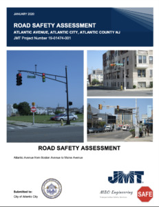 PDF cover, reading January 2020, Road Safety Assessment, Atlantic Avenue, Atlantic City, Atlantic County, NJ, then there are three images of the route, rather car-oriented in design, followed by text: Road Safety Assessment, Atlantic Avenue from Boston Avenue to Maine Avenue