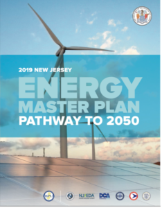 Image of Pdf cover reading 2019 New Jersey Energy Master Plan, Pathway to 2050. Behind the text is a wind turbine and a solar panel.