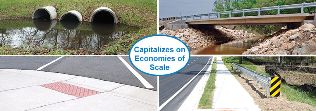 Four images, a drainage pipe, an overpass, a parking space, and a curb, with text in the center that reads Capitalizes on Economies of Scale