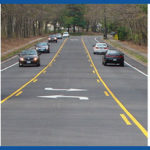 Three images: left, a pedestrian crossing, middle, a road with a turning lane in the middle, and right, a construction worker measures the edge of a roadway