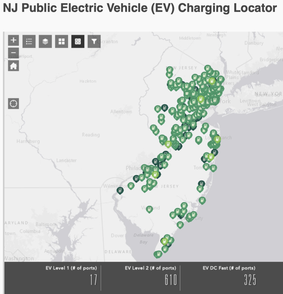 One aspect of NJ's EV conversion plan is to develop a robust network of fast chargers, which is already underway. Source: NJDEP.