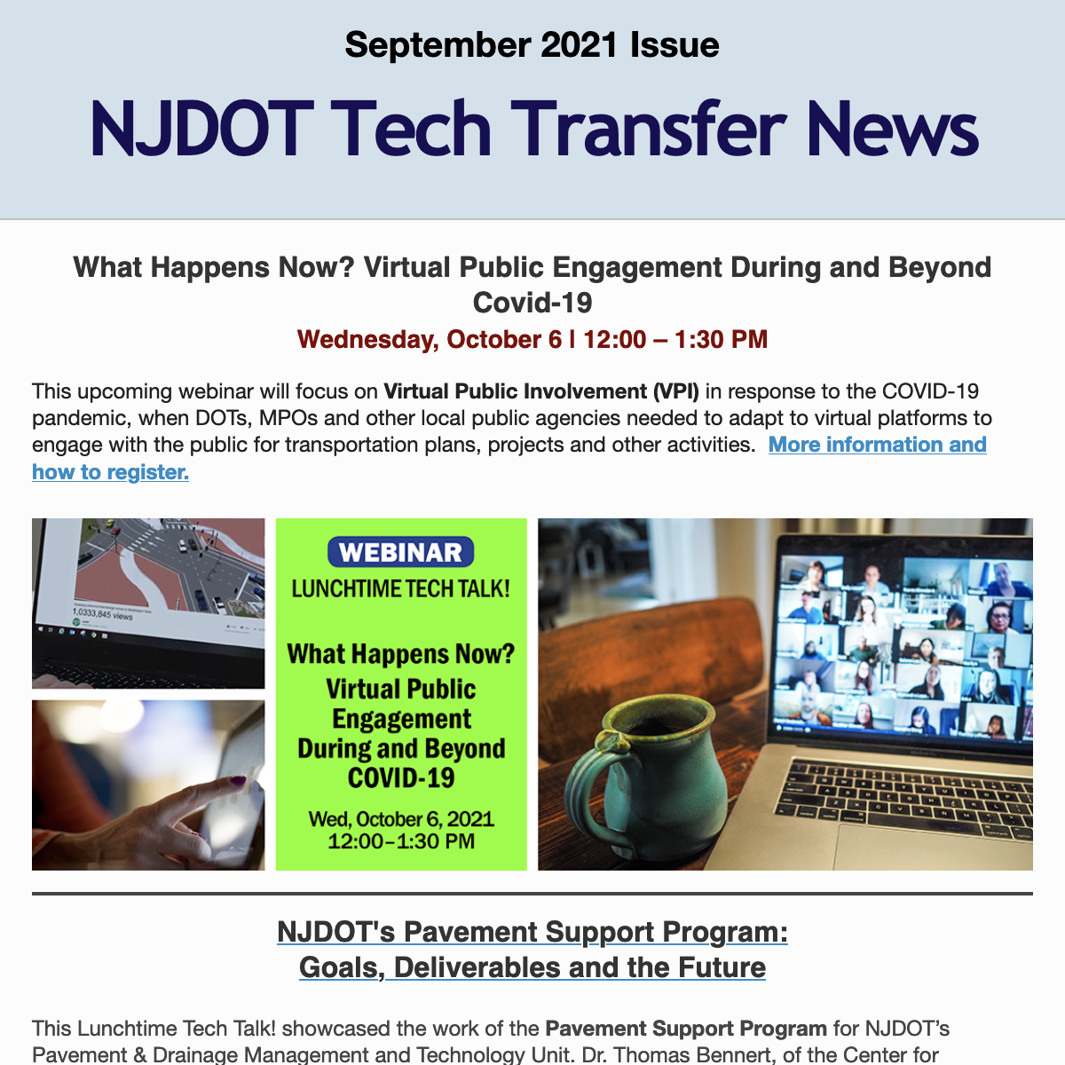 Reads September 2021 NJDOT Tech Transfer News, with first item being What Happens Now? Virtual Public Engagement During and Beyond Covid-19